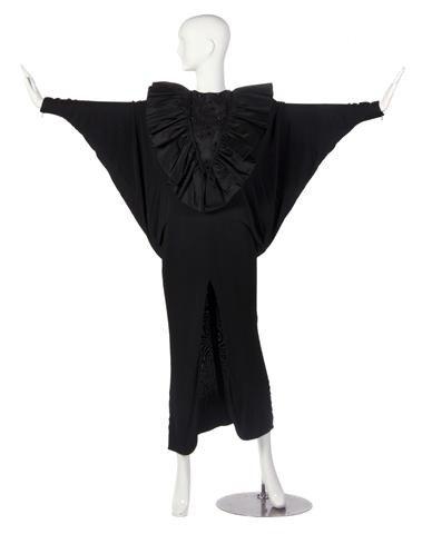 13: A Tony Chase Custom Black Ruffle Evening Gown,