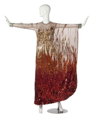 21: A Nolan Miller Orange Silk Chiffon and Sequin Flame