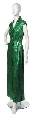 45: A Halston Emerald Green Sequin Evening Gown.