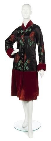 58: A Schiaparelli Couture Black Satin and Red Velvet F