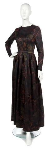 59: A Mainbocher Autumnal Silk Evening Gown,