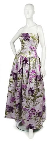 60: A Norman Norell Lilac Floral Silk Evening Gown,