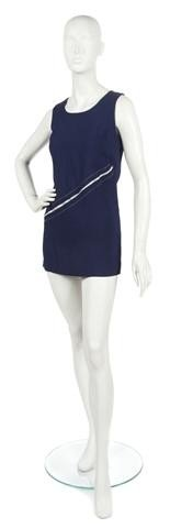 62: A Mary Quant Blue Wool Tunic Minidress, Size 9.