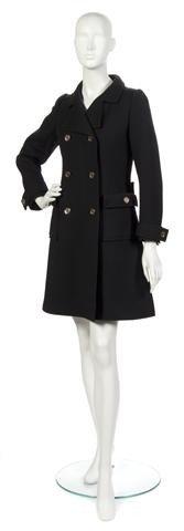 65: A Courreges Black Wool Coat, Size A.