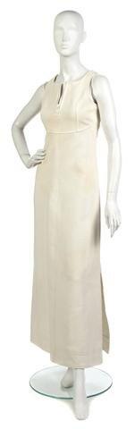 66: A Courreges Off-White Pique Maxi Dress,