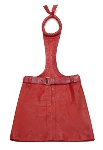 67: A Pierre Cardin Red Leather Tunic Dress,