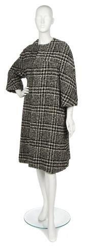 69: A Tassel Black and White Tweed Swing Coat,