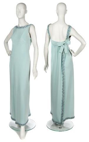 70: A Jean Patou Pale Blue Silk Crepe Evening Gown,
