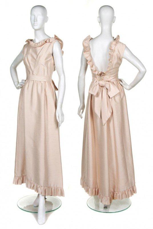 72: A Teal Traina Light Pink Silk Shantung Evening Gown
