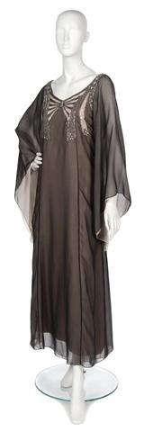 73: A Teal Traina Black Chiffon Evening Gown,