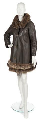 76: A Bonnie Cashin Brown Leather Fur Trimmed Coat,