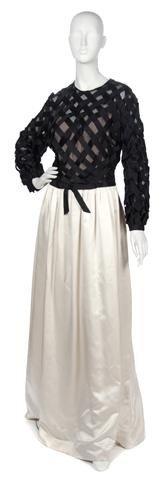 77: A Sarmi Black and Cream Silk Evening Gown,