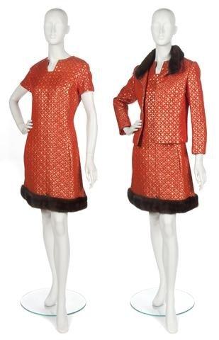 80: An Oscar de la Renta Orange Brocade Dress with Matc