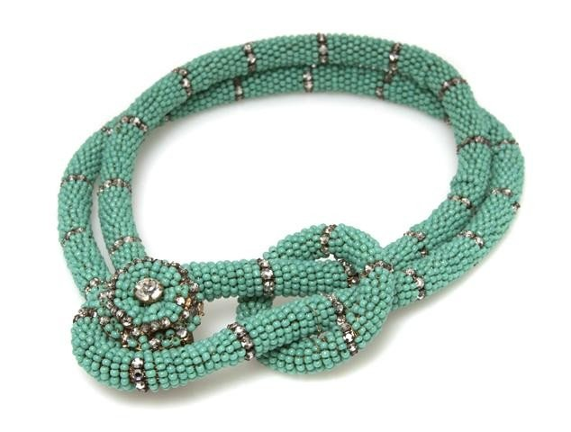 358: A Miriam Haskell Turquoise Beaded Choker Necklace,