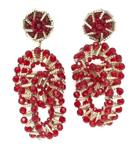 382: A Pair of Coppola e Toppo Red and Gold Beaded Earc