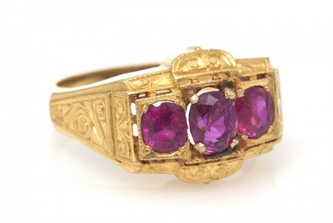 4: A 14 Karat Yellow Gold and Ruby Ring, 3.10 dwts.