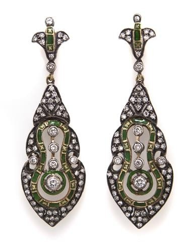 6: A Pair of Silver Topped Gold, Enamel and Diamond Dan