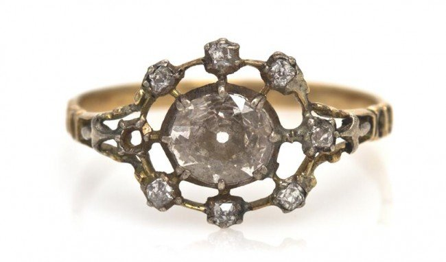 9: A Victorian Yellow Gold and Diamond Ring, 1.15 dwts.