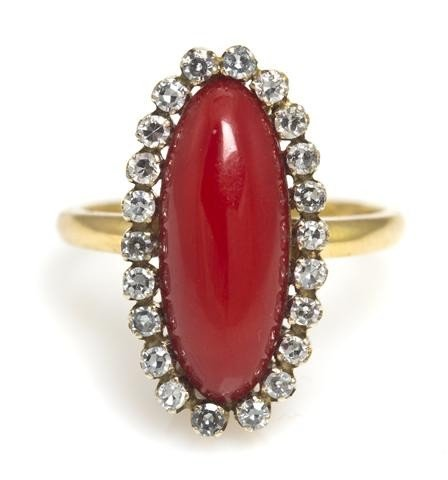 14: An 18 Karat Yellow Gold, Diamond and Oxblood Coral