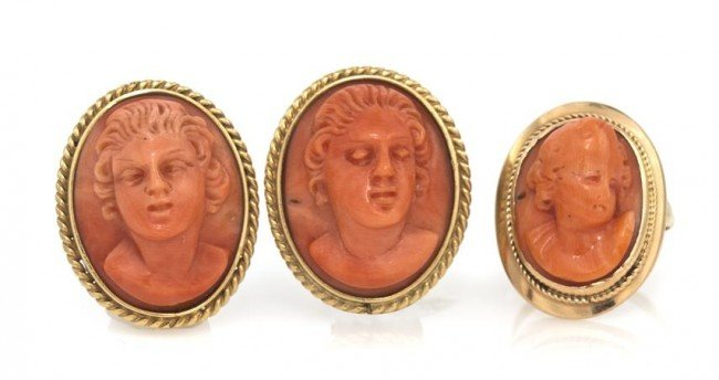 18: A Set of Coral Cameo Jewelry, 14.65 dwts.