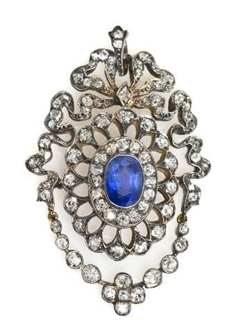 19: A Victorian Silver Topped Gold, Sapphire and Diamon
