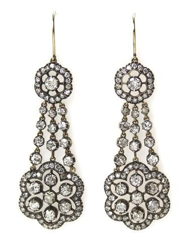 21: A Pair of Silver Topped Gold and Diamond Earrings,