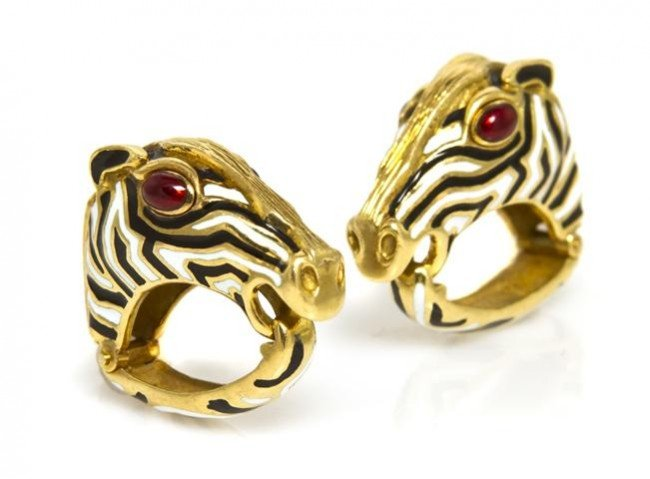 160: A Pair of 18 Karat Yellow Gold and Polychrome Enam