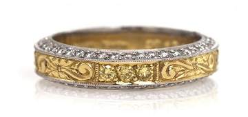 194 A Platinum 18 Karat Yellow Gold and Fancy Color D