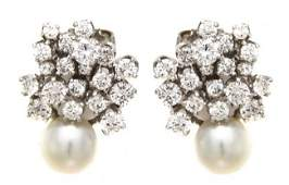 267 A Pair of Platinum Cultured Pearl and Diamond Ear
