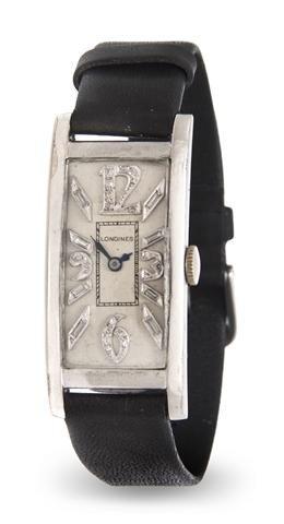 314: A Platinum and Diamond Wristwatch, Longines,