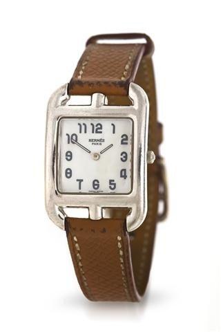 337: An 18 Karat White Gold Wristwatch, Hermes,