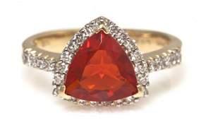 381 A 14 Karat Yellow Gold Fire Opal and Diamond Ring
