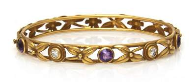 427 An Art Nouveau Yellow Gold Amethyst and Diamond B