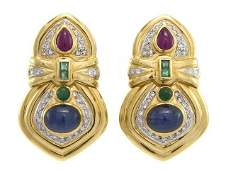562 A Pair of 18 Karat Yellow Gold Diamond Sapphire