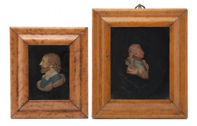 4: Two Wax Profile Busts, Height of larger bust 3 5/8 i