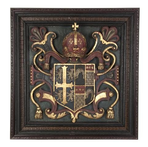 6: An English Carved Wood Coat of Arms, Height 23 5/8 x