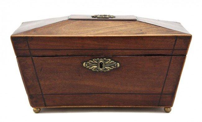 7: An English Mahogany Tea Caddy, Width 11 1/2 inches.