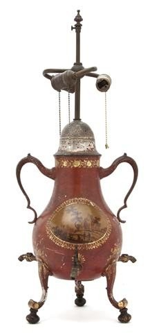10: A Tole Tea Canister, Height overall 27 inches.