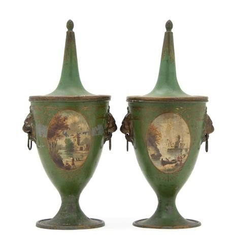 11: A Pair of Painted Tole Urns, Height 14 1/4 inches.
