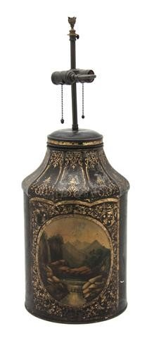 12: A Painted Tole Tea Canister, Height overall 17 1/2