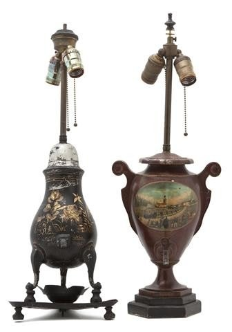 13: Two Painted Tole Urns, Height of tallest overall 23