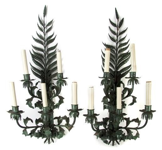 14: A Pair of Tole Five-Light Sconces, Height 39 inches