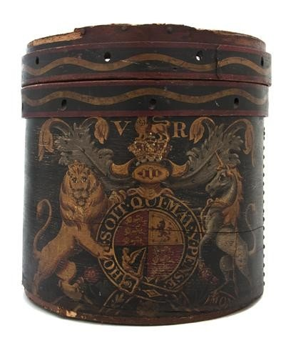 14A: A Tole and Painted Wood Kindling Box, Diameter 17