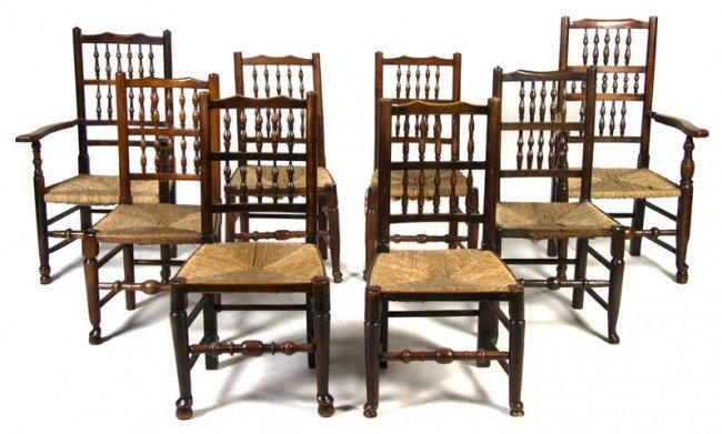 18: An Assembled Set of Eight English Lancashire Chairs