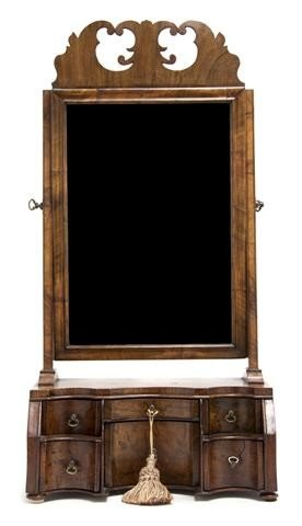20: A Queen Anne Burlwood Dressing Mirror, Height 29 1/