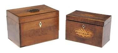 47: Two George III Inlaid Mahogany Tea Caddies, Width o
