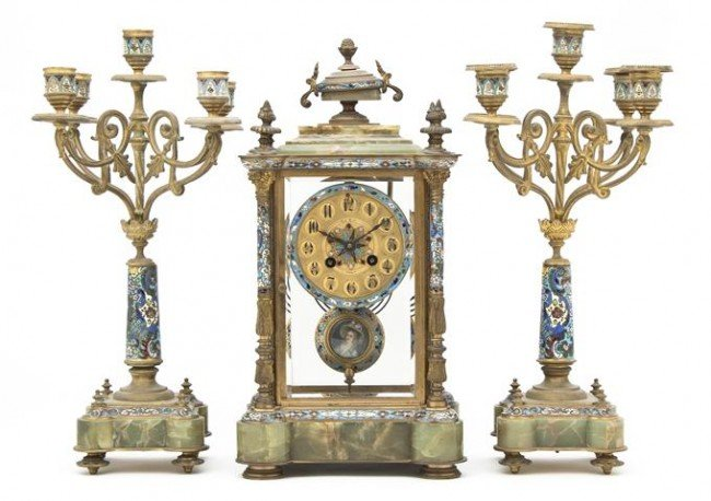 283: A French Bronze, Champleve and Onyx Three-Piece Cl