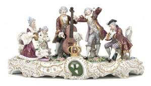 393 A Dresden Porcelain Figural Group Height 10 x wid