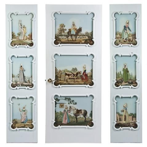 534: A Group of Three Painted Glass Inset Doors, Height