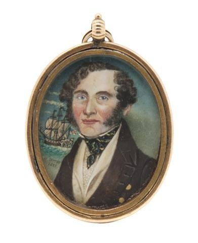 595: An American Mourning Portrait Miniature on Ivory,